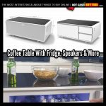 Sobro White Coffee Table With Refrigerator and Speakers